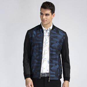 才子男装(TRIES)夹克 男士2017新款时尚迷彩拼色立领修身简约百搭休闲夹克外套