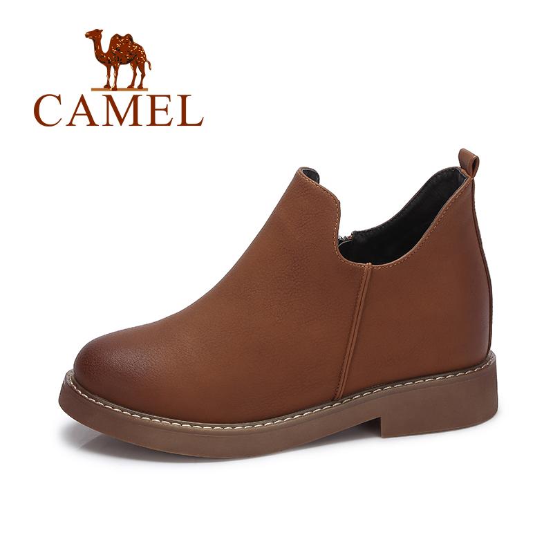 camel/骆驼女鞋 冬季新款 英伦风复古短靴子女靴 简约百搭低跟裸靴