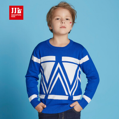 jjlkids季季乐2017春秋新款几何图案男童针织衫中大童圆领毛衣BQM61136专柜同款