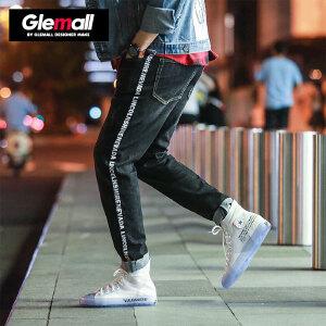森马潮牌GLEMALL 牛仔裤男明亮条纹字母织带撞色男士休闲长裤
