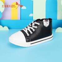 【1件2折后:44.6元】红蜻蜓童鞋春秋季新款高帮帆布鞋运动鞋中大童男女童儿童板鞋