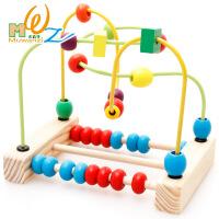 木丸子木制早教益智玩具 婴幼儿益智珠算绕珠宝宝小串珠 儿童玩具