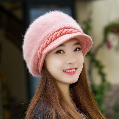 №【2019新款】适合短发带的帽子冒子戴的帽子冬天圆脸女士韩版秋冬天针织鸭舌贝  加绒款均码