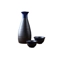 MinoYaki美浓烧日本进口蓝变款陶瓷清酒酒具三件套