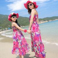 沙滩裙亲子装海边母女装波西米亚裙韩版亲子连衣裙吊带长裙潮