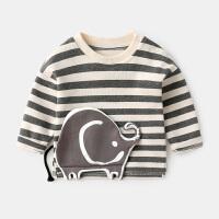 宝宝上衣女春秋长袖0-3个月婴儿T恤男新生儿衣服纯棉春装条纹体恤