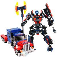 黄蜂变形擎天金钢柱拼装机器人汽车6-10岁男孩积木益智玩具