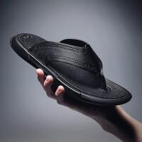 品牌男士凉鞋真皮拖鞋人字拖镂空露趾防滑防水沙滩鞋休闲潮流罗马外穿一字拖 黑色