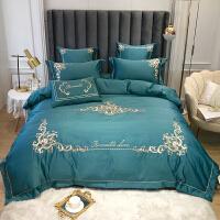 白色床单四件套网红款纯棉全棉刺绣简约冰丝欧式丝滑床上用品
