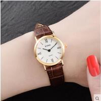 简约二针复古休闲防水表皮带薄款手表石英表女式手表