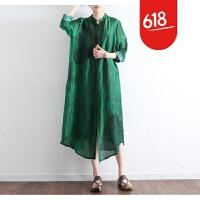 原创2018春季新款女装原创设计宽松大码文艺丝麻开衫薄风衣长袖外披女GH061 绿色