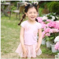 儿童游泳衣女童泳装韩国公主配泳帽宝宝泳装连体裙式泳衣儿童 可礼品卡支付