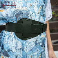生活在左2019夏季新品时装周牛皮革复古气质女士装饰墨绿色腰带