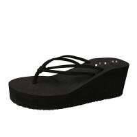 厚底坡跟双带高跟人字拖女夹脚拖鞋沙滩拖松糕防滑凉拖鞋 高跟黑色 (6.5CM)