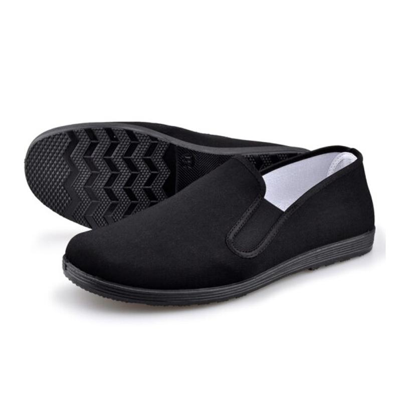 老北京布鞋男款 圆口中老年老头鞋休闲鞋 透气男士黑布鞋 橡筋 全 黑底 35