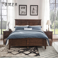 优梵艺术Rhine美式乡村实木床 1.5米1.8卧室家具简约双人大床婚床