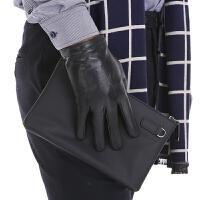 真皮手套男士秋冬季薄款开车摩托车商务羊皮触摸屏加绒保暖皮手套