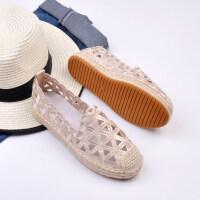预售渔夫鞋镂空单鞋绣花女鞋圆头平底鞋麻底牛筋底低跟森女鞋2018新款GH170