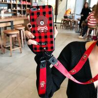 苹果x手机壳7p潮牌女款iphone6s有趣的8plus挂脖挂绳7p熊新款阿沁冷淡风8网