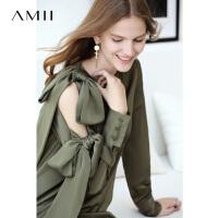 Amii极简欧美风时尚蝴蝶结纯色连衣裙女秋装绑带短OP梭织短裙