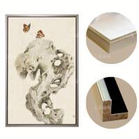 美想手绘油画中式客厅装饰画蝴蝶挂画现代玄关过道走廊竖版挂画 米白色 香槟银色画框 93*163 单幅