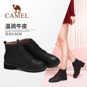 camel/骆驼女靴 2017秋冬新款 时尚复古方跟马丁靴 舒适英伦系带短靴子