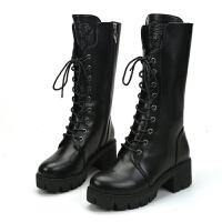 马丁靴女英伦风粗跟军靴女靴加绒短靴子女冬季高跟中筒靴高帮女鞋