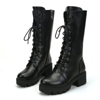 �R丁靴女英���L粗跟�靴女靴加�q短靴子女冬季高跟中筒靴高�团�鞋
