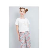 【3件2折价:74】笛莎童装女童套装2021夏季新款中大童儿童女孩洋气T恤裤子两件套