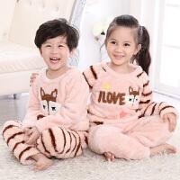 秋冬季儿童睡衣套装男童女童宝宝长袖珊瑚绒小孩男孩家居服