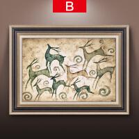 欧式装饰画客厅三联画油画玄关壁画沙发背景墙餐厅挂画美式发财鹿SN7595 45*60 单幅整套可选