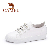 Camel/骆驼女鞋 新款休闲魔术贴厚底鞋 舒适百搭珠饰板鞋