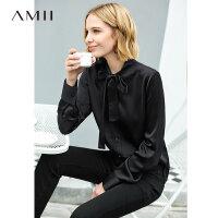 【到手价:245元】Amii极简法式气质绑带衬衫女2019秋新款醋酸梭织修身黑色洋气上衣