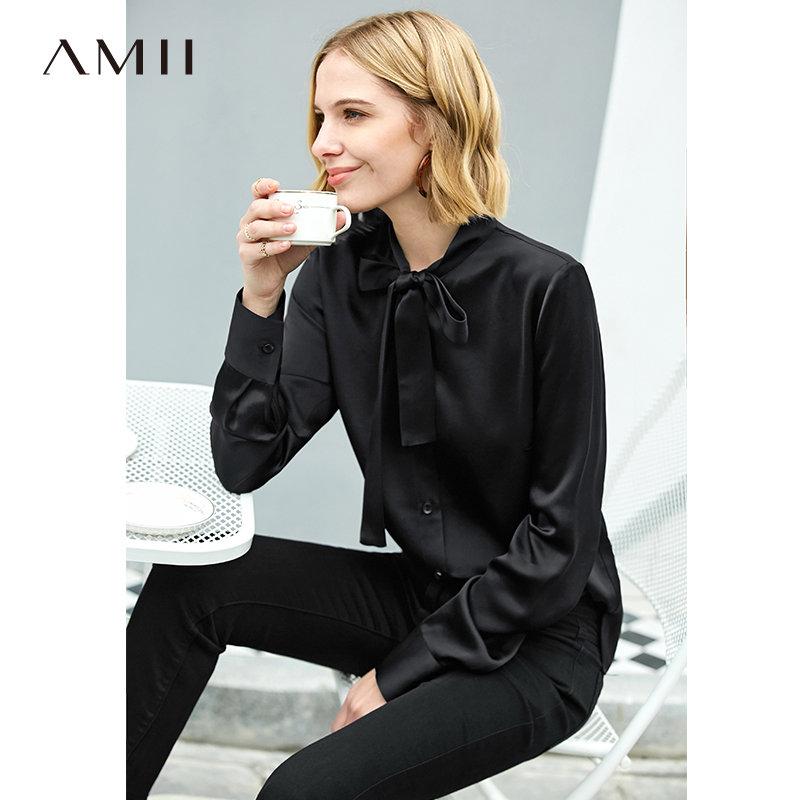 【到手价244元】Amii极简法式气质绑带衬衫女2019秋新款醋酸梭织修身黑色洋气上衣 AMII-极简主义女装领导者!