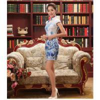 花旗袍修身连衣裙夏季新款 精致蕾丝印风礼服 可礼品卡支付