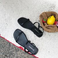 同款凉鞋凉鞋女夏新款露趾平底沙滩凉鞋韩国chic百搭复古一字带简约凉鞋女
