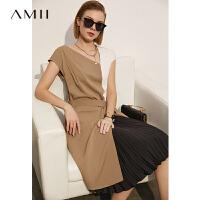 Amii极简时尚V领撞色拼接背心连衣裙2021夏季新款收腰显瘦裙子女