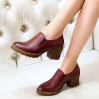 娜青青春季新款全牛皮圆头复古粗跟女鞋深口中跟防水台皮鞋真皮单鞋