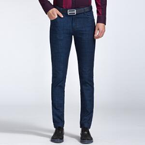 才子男装(TRIES)牛仔裤 男士2017年新款青春时尚简约百搭合体直筒中腰牛仔裤