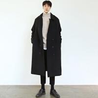 秋冬新款青年毛呢大衣男士长款英伦宽松风衣双排扣休闲羊毛呢外套