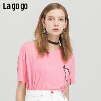 【秒杀价45】Lagogo2019年夏季新款时尚字母印花短袖粉色宽松T恤女IATT314C05