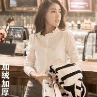 №【2019新款】冬天小姐姐穿的立领白衬衫女长袖新款荷叶边修身韩范打底衬衣女士冬