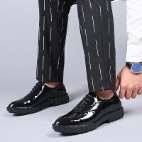 皮鞋男商务正装大头皮鞋男款英伦系带圆头男鞋真皮婚鞋厚底