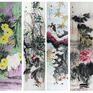 中国美术家协会会员 张萍  花鸟四条屏