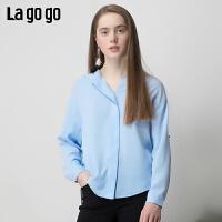 【清仓5折价161】Lagogo2019春季新款上衣设计感洋气小衫雪纺衫女IASS532M24