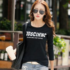春装新款女装上衣体恤衫韩版修身春秋打底衫纯棉长袖T恤女WK0162