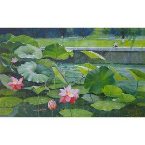 朝鲜油画 一级画家 李南镇《荷塘垂钓》【大千艺术品】
