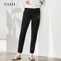 Amii极简夏新款女直筒纯色印花休闲九分裤运动弹力休闲高腰铅笔裤