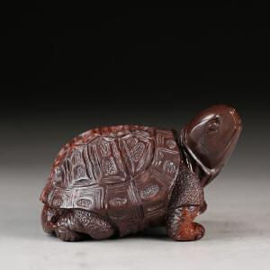 寿山月尾紫石 精雕龟寿延年摆件 p3507