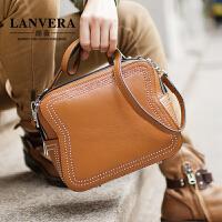 【支持礼品卡】LANVERA 女包新款欧美轻奢牛皮手提包复古柳钉小方包单肩手提斜挎包包 L2023